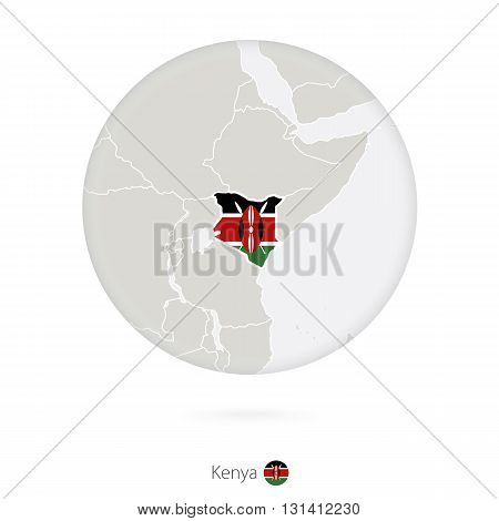 Map Of Kenya And National Flag In A Circle.