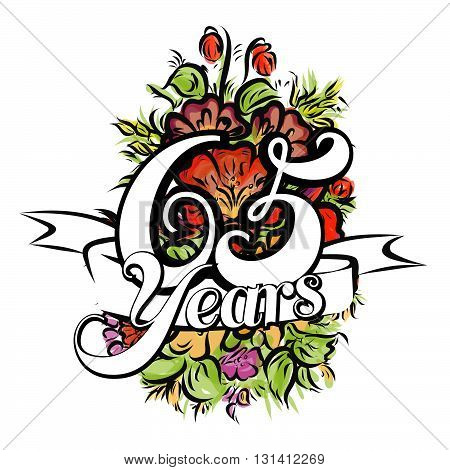 65 Years Greeting Card Design