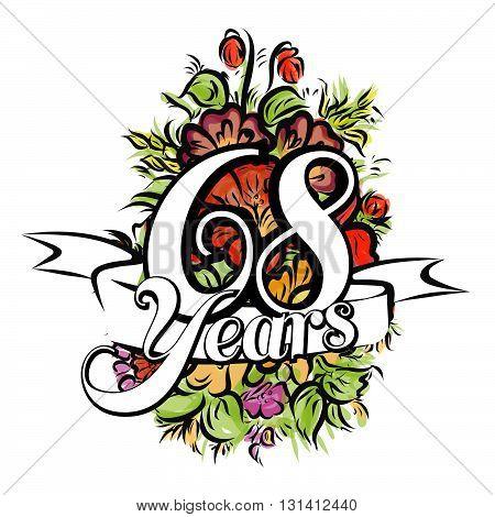 68 Years Greeting Card Design