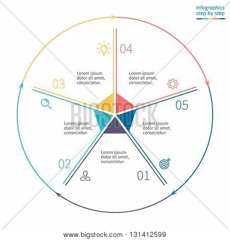 Outline circular infographics. Business diagram with 5 steps. Vector template.