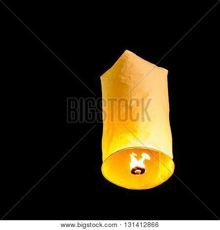 Floating Lantern on the dark sky background