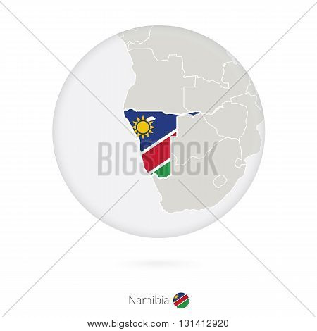Map Of Namibia And National Flag In A Circle.
