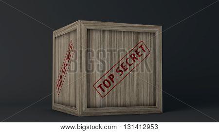 Top Secret Wooden Crate on Black Background 3D Illustration