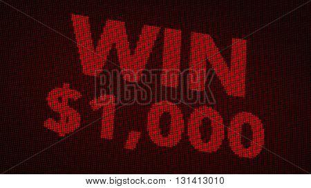 Winning 1000 Usd Jackpot Retro Gambling Machine Display