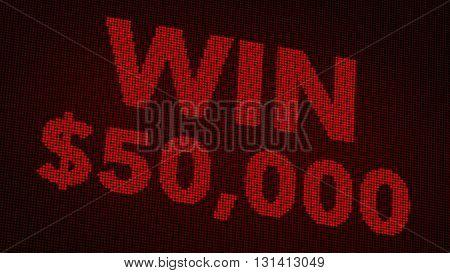 Winning 50000 Usd Jackpot Retro Gambling Machine Display