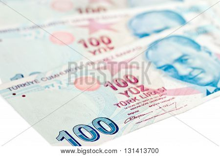 Turkish lira banknotes. isolated on white background