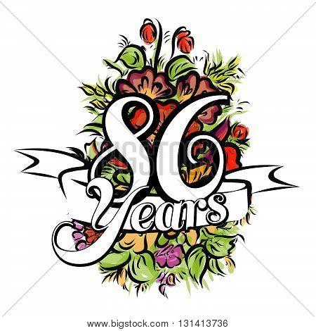 86 Years Greeting Card Design
