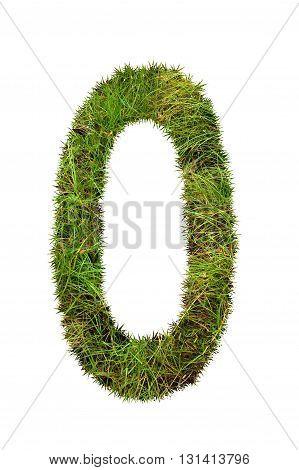 fresh green grass letter on white background - O