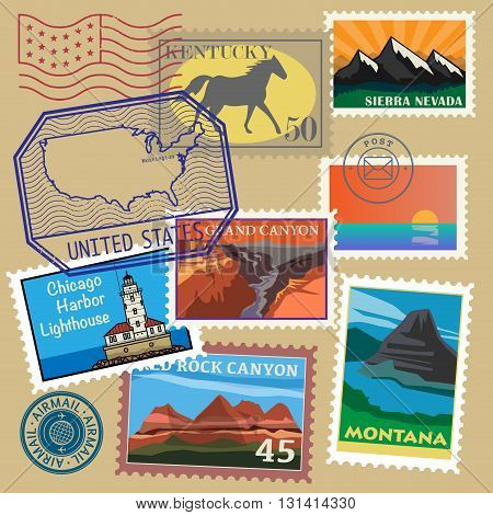 United State vintage post stamps set, vector illustration