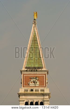 Close up of St Mark's Campanile Bell Tower in Venice Italy