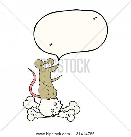 freehand drawn speech bubble cartoon rat on bones