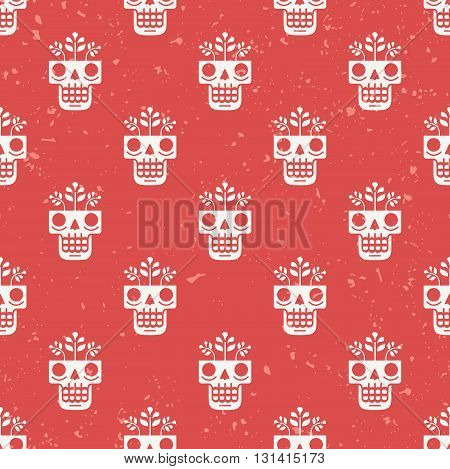 Hand drawn skull with flowers growing through it seamless pattern. Concept of eternal life illustration in traditional Mexican art style. Repeating modern red background for textile or wrapping paper.