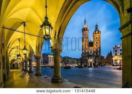 Krakow Market Square At Dawn, Poland, Europe