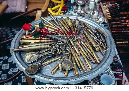 ballpoints made of bullet shells on bazaar in Sarajevo Bosnia and Herzegovina