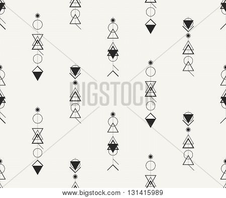 Vector seamless pattern. Modern stylish monochrome illustration with outlined hipster symbols. Repeating background for fabric wallpaper or wrapping paper.