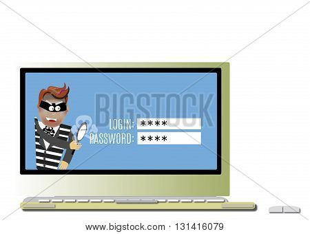 Internet security concept hacker reading the word password on a digital tablet screen with a magnifying glass