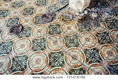 tiled floor in abandoned hotel in former Tourist Complex of Kupari village Croatia