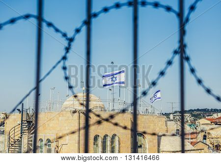 Israelian flags near Temple Mount in Jerusalem Israel