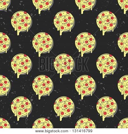 Hand drawn tasty pizza circles vector seamless pattern. Modern stylish repeating fast food service elements background. Isolated vector illustration on black background.