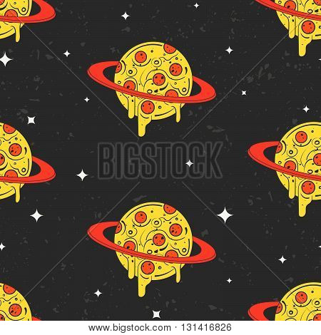 Hand drawn vector seamless pattern. Funny illustration of pizza-looking planets in space. Modern fast food stylish repeating background. Isolated vector illustration perfect for wallpapers or textile