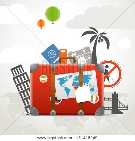 Vacation travelling composition concept with the red bag