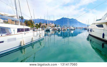 KALAMATA PELOPONNESE GREECE, APRIL 02 2016: panoramic photo of a small harbor at Kalamata Peloponnese Greece. Editorial use.