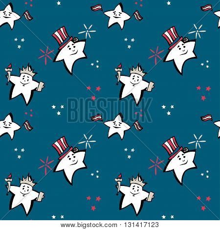 Independence Day vector seamless pattern, blue back