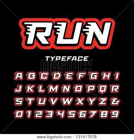 Sport Font. Vector Alphabet With Tail Effect Letters And Numbers.