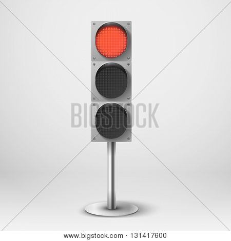 Traffic light vector illustration. Red diod traffic light. Template for design