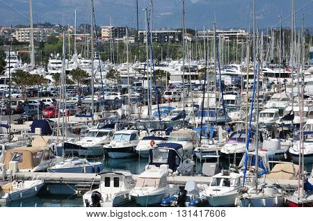Antibes France - april 15 2016 : boats in the marina
