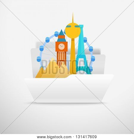 Computer interface folder vector illustration. Open folder illustration