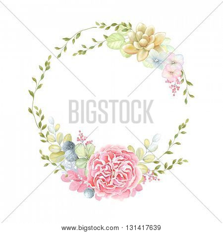 Romantic wreath with English Rose, Succulent plant and leaves, vector illustration in vintage style.