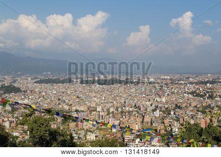 View over the Nepalese capital Kathmandu from Swayambhunath temple.
