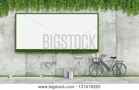 Blank Street Billboard On Grunge Wall