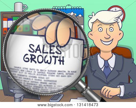 Sales Growth on Paper in Business Man's Hand through Lens to Illustrate a Business Concept. Multicolor Doodle Illustration.