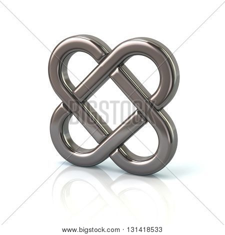 3d illustration of silver endless knot isolated on white background