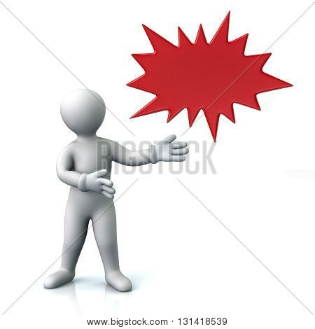 3d illustration of man and red bursting star isolated on white background