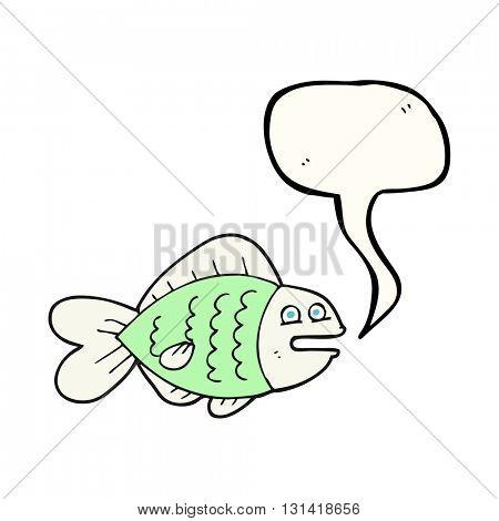freehand drawn speech bubble cartoon funny fish
