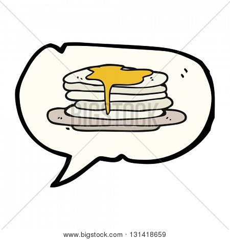 freehand drawn speech bubble cartoon stack of pancakes