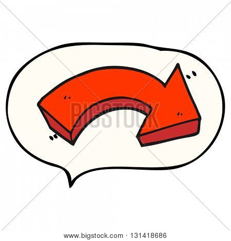 freehand drawn speech bubble cartoon pointing arrow