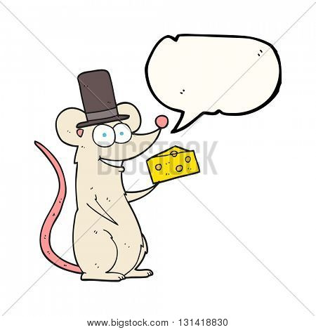 freehand drawn speech bubble cartoon mouse with cheese