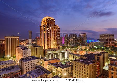 New Orleans, Louisiana, USA CBD skyline at night.