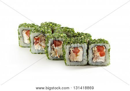 Green Maki Sushi - Roll made of Chicken, Cream Cheese, Lettuce and Tomato inside. Dill outside
