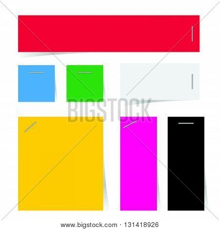 reminder paper art set in color illustration