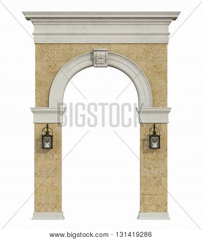 Medieval Arch Isolated On Withe