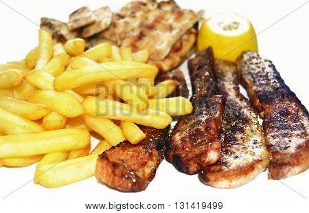 steak meat with fried potatoes and greek pita - greek food icon