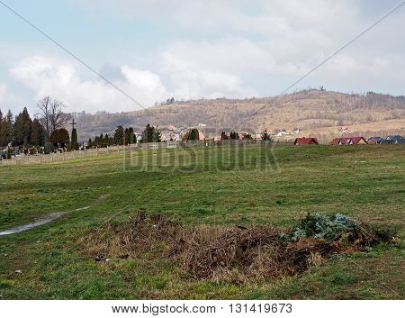 landscape with cemetery and mountains in Jelenia Gora, Silesia, Poland