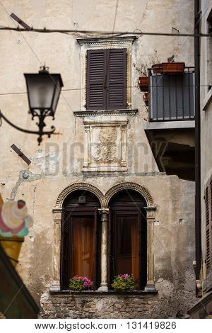 Traditional facade of the italian house in the old town