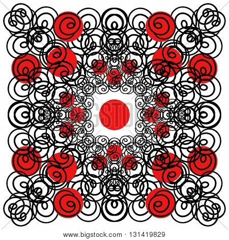Vector illustration of circles. Red and black