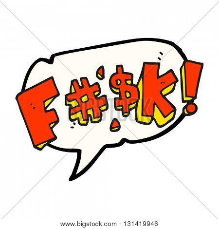 freehand drawn speech bubble cartoon swearword